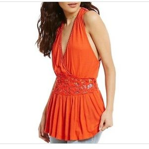 Free people meagan embroidered crochet tank